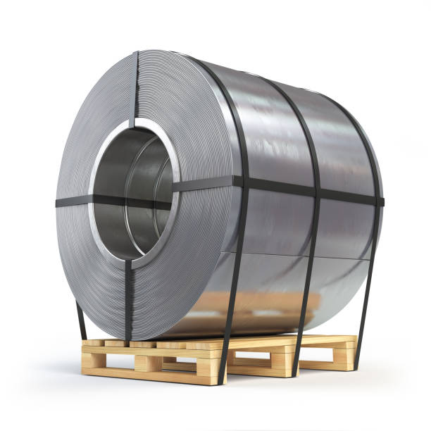 stainless steel coil, ss coil on a pallet. Production, delivery and storage of metal products.
